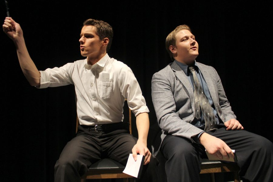 Tyler+Doherty+%2810%29+and+Nathan+Plush+%2811%29+perform+in+the+Fall+Play+The+Real+Inspector+Hound.