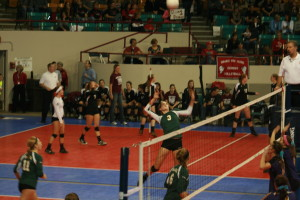 Volleyball battles for win in first round of State
