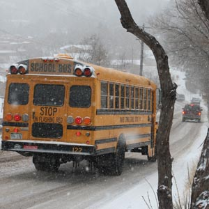 Students and staff struggle in snow
