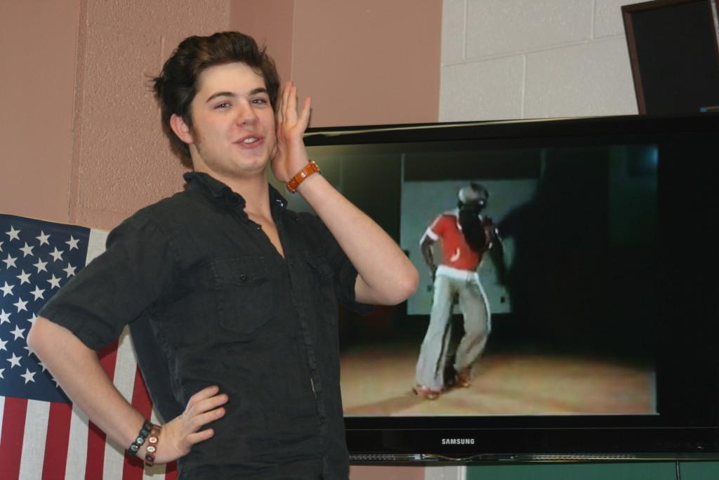 Photo by Keegan Bockhorst.  Phoenix Davis practices for the James Brown dance contest.