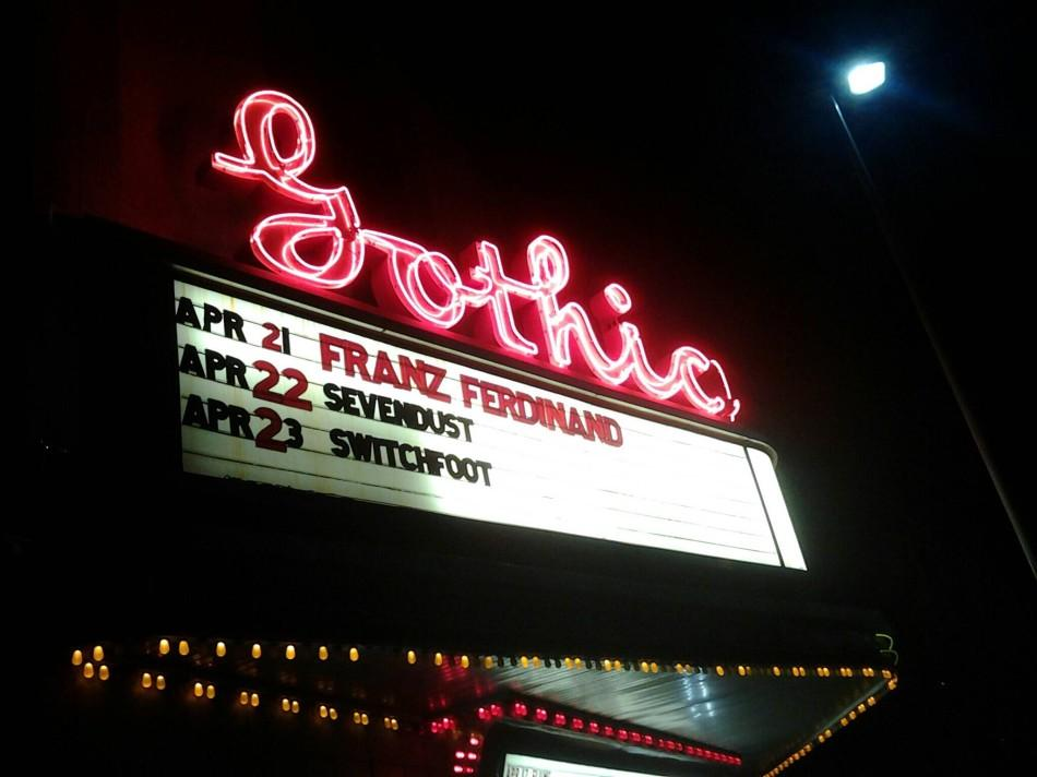 A renovated movie theater, The Gothic Theater's art deco style fit perfectly with Franz Ferdinand's aesthetic.