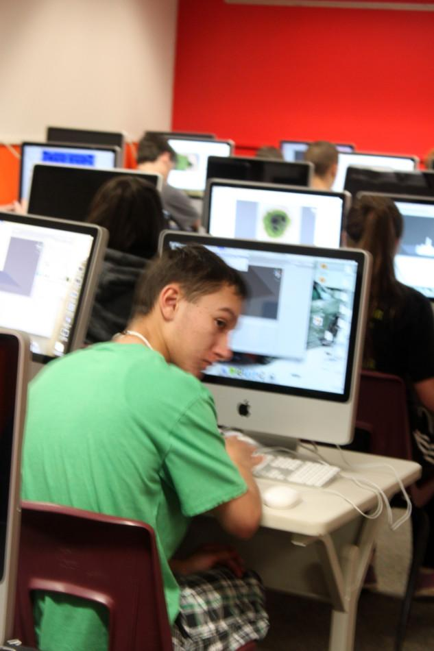 Freshman Staven Guerro is designing an island as part of the programming class.