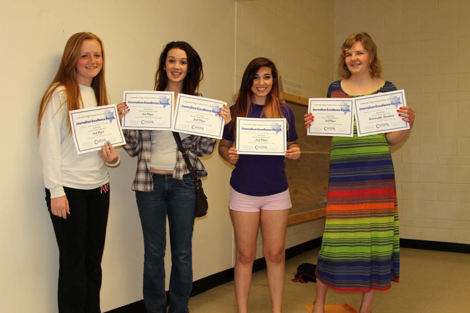 The winners of the Media Awards holding their certificates. Katelinn Root (11), Daisy Erickson (11), Justina Nanfito (12), Hannah Tooley (12)