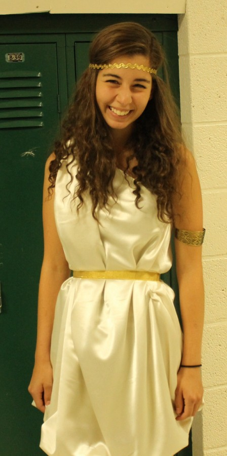 Daniela Pinto Payares (12) shows school spirit by wearing a toga.