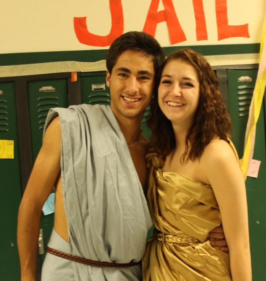 Aidan Epstein (12) and Melissa Newberry (12) take part in the tradition of toga day.