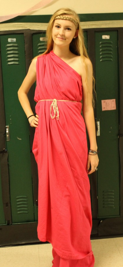 Senior student Lennon Lancaster dressed in a pink toga on Thursday as part of an MSHS tradition.