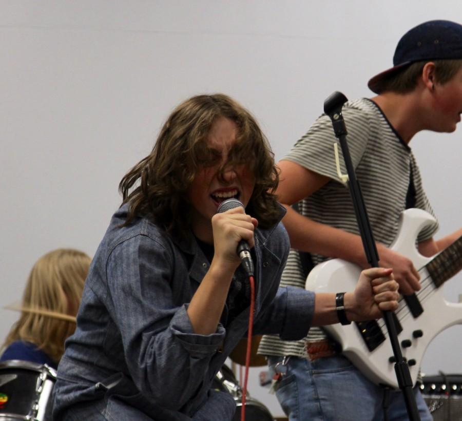 Hunter Bogush (11), the lead singer of Bottom Line.