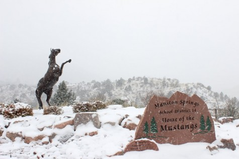 View of the first snow from mustang plaza.