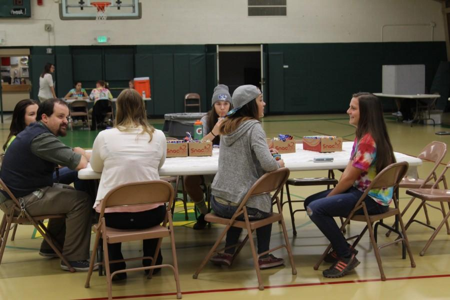 Students hang out and eat provided snacks to regain energy from giving blood.