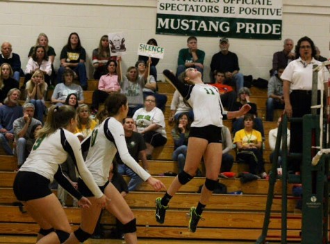 Katie McKiel (11) just moments before spiking the ball.