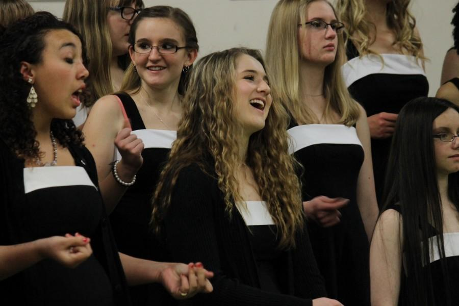 Choir students during the encore of