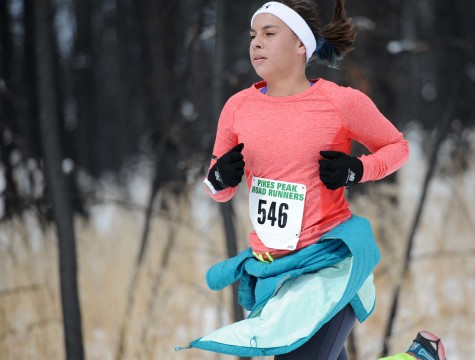 Sophomore Jen Cole approaches the finish in the final Winter Series race.
