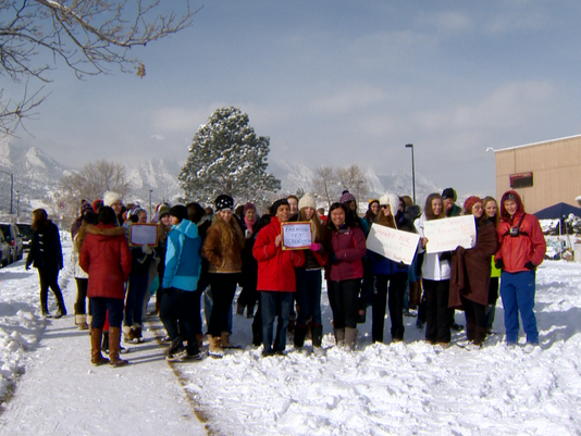 Seniors at Fairview High School protest the CMAS test.