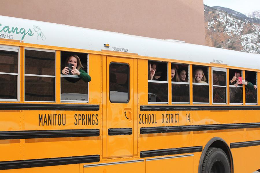 The State bound basketball bus heads to the state tournament on March 12, 2015