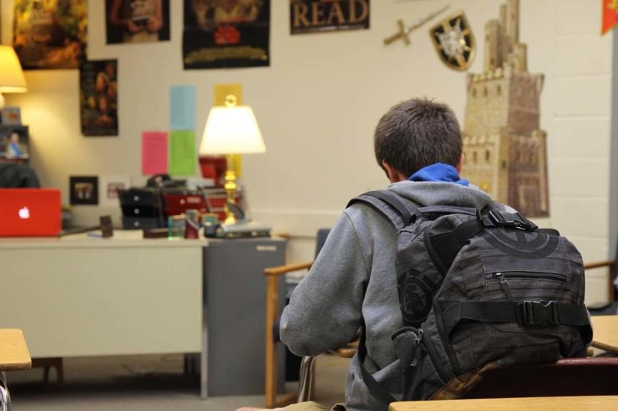 Frank Barton (10) sits in Mrs. Rockenbach's advisory. Lately, Mrs. Rockenbach's classroom has resembled Mr. Brown's, as the desks have been in a different arrangement almost every day.