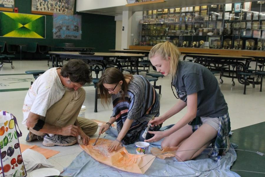 Jayde Edmundson (12), Lennon Lancaster (12), and Steve Wood build a Kraken in the commons.