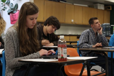 Sarah Weimer (9) looks over her notes in her fourth block science class with Mr. Barger. Sarah and her twin brother Nick have been in the Manitou Springs School District for their whole lives.