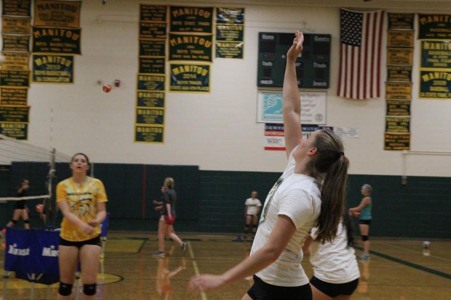 Katie McKiel (12) has been the star player on the team for the past two seasons. Last year, she was on the All State First Team and led the league in sets. She is part of the core group of seniors this year, and hopes to contribute to the leadership of the team.