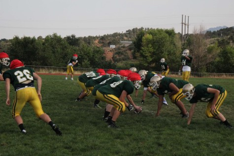 The football team began practicing on August 17th. At this practice, the team played a scrimmage to prepare for their first game on September 4 against Faith Christian.