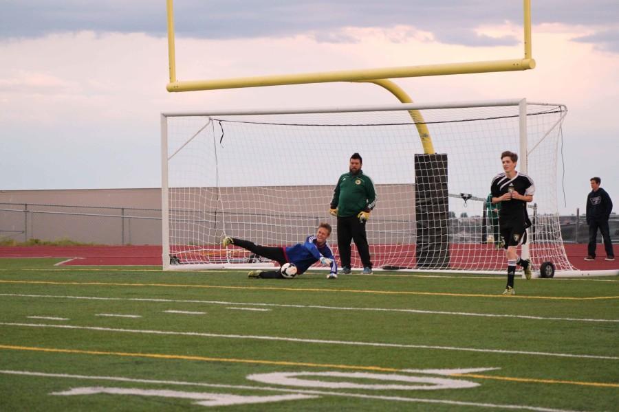 Devin Szajner (10) Warming up in goal. Devin is a starting goalie for MSHS Soccer.