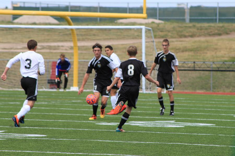 Nick Vidovich (10) passes the ball towards Travis Struble (12). Nick Doubles as a defender and a mid-fielder for MSHS soccer team