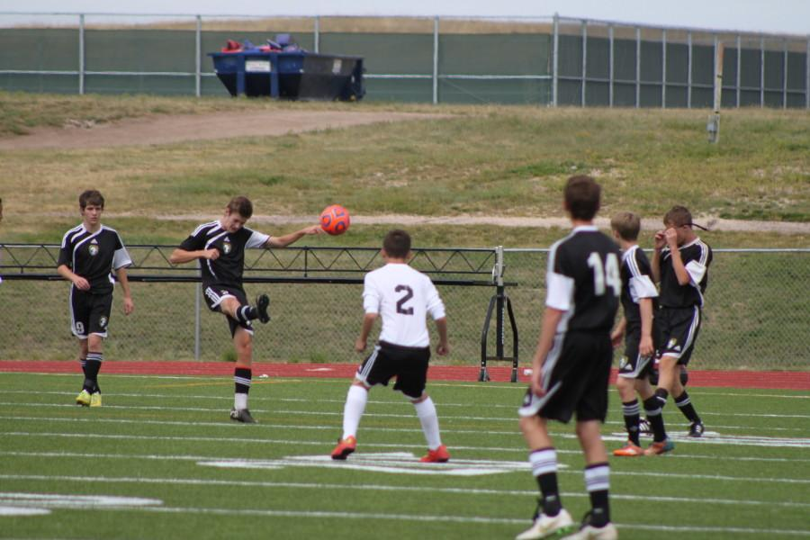 Goal Kick from Josh Elkington (12). Josh is starting Center-mid for MSHS Varsity Soccer team.