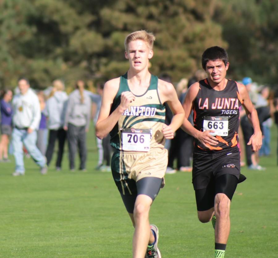 Hunter Sherraden (11) racing a student from La Junta to the finish line.