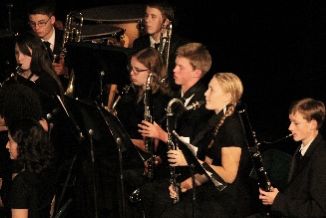 Part of the brass section, Anne Musekamp (12), Bryce Van Derveer (11), Karly Keating (9) and Torin Russell-Weddington (9)