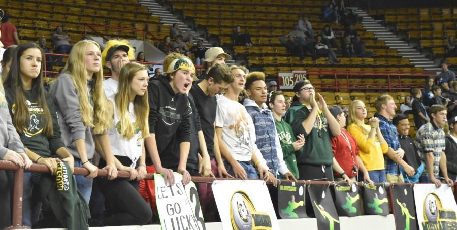 Students skip school to cheer on varsity volleyball players.