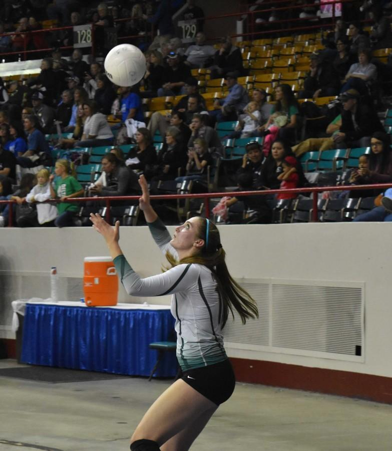 Katie McKiel, a senior who play both soccer and volleyball, has played varsity volleyball for four years.