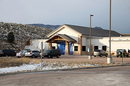 The damage done to Colorado Springs Planned Parenthood following the shooting.
