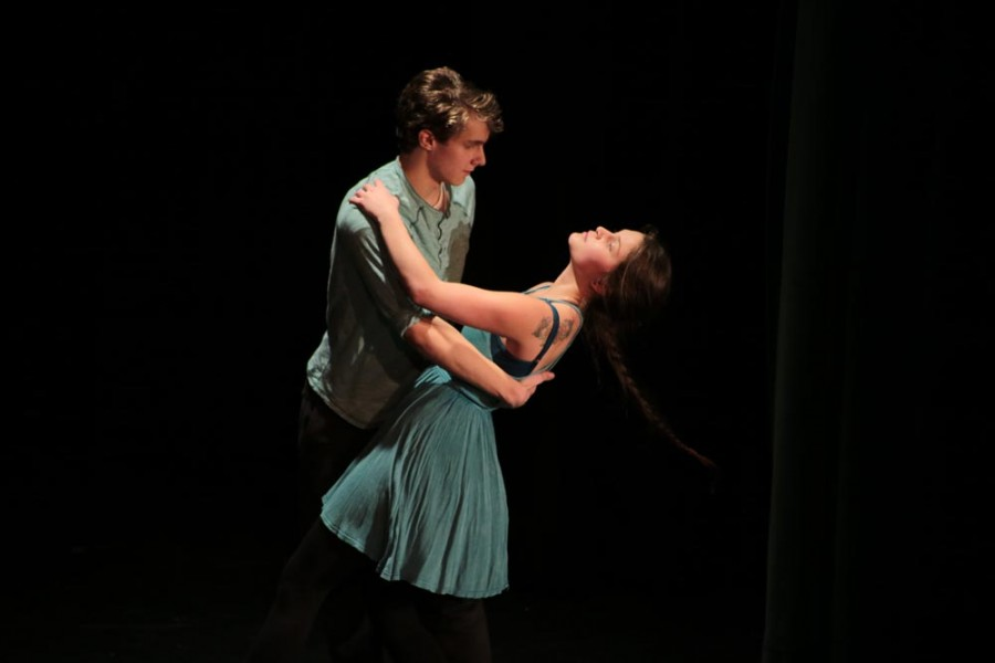 Tyler Doherty (9) and Rhiannon Roszman (12) dance with one another. The two play love interests set up by Hayley Hamblin (12) and Caleb Hall's (11) characters.
