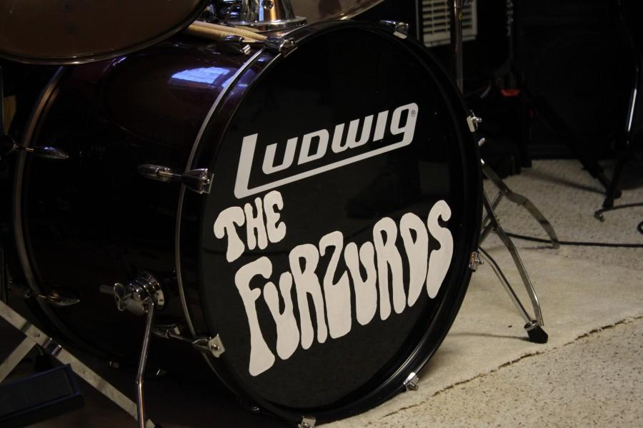 The Furzurds' label is custom-painted onto their bass drum.