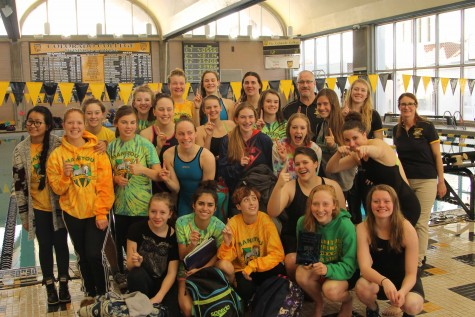 The team poses for a photo after winning Tri-Peaks League. Coach Roy Chaney said that this is possibly the best swim and dive team Manitou Springs High School has ever had.