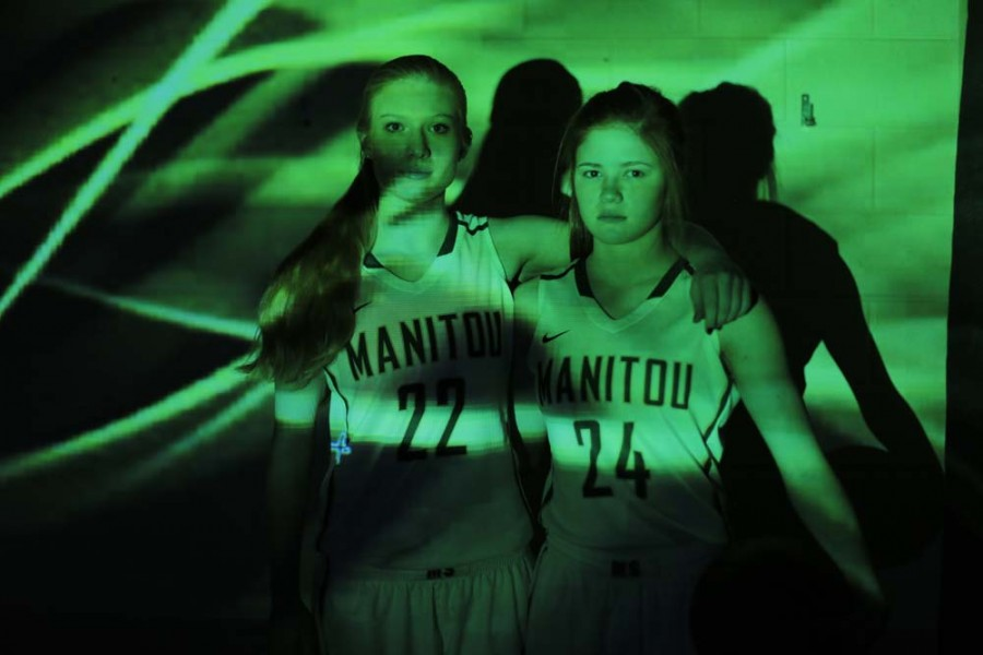 Maddy Frahm (11) and Shelby Megyeri (11) are both key players on this years varsity basketball team, and have both been playing basketball since elementary school.