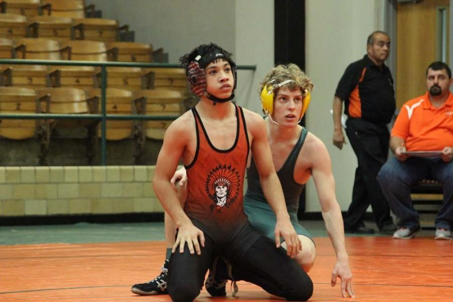 Noah Sobeck (10)  waits for the referee to whistle. Sobeck won two out of three of his matches.