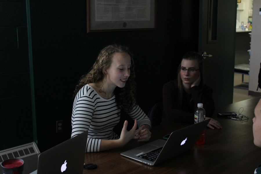 Lily Reavis (11) and Ariel Palaia (12) discuss this spring's events for Drive Smart. The committee last met on March 16, 2016 during advisory.