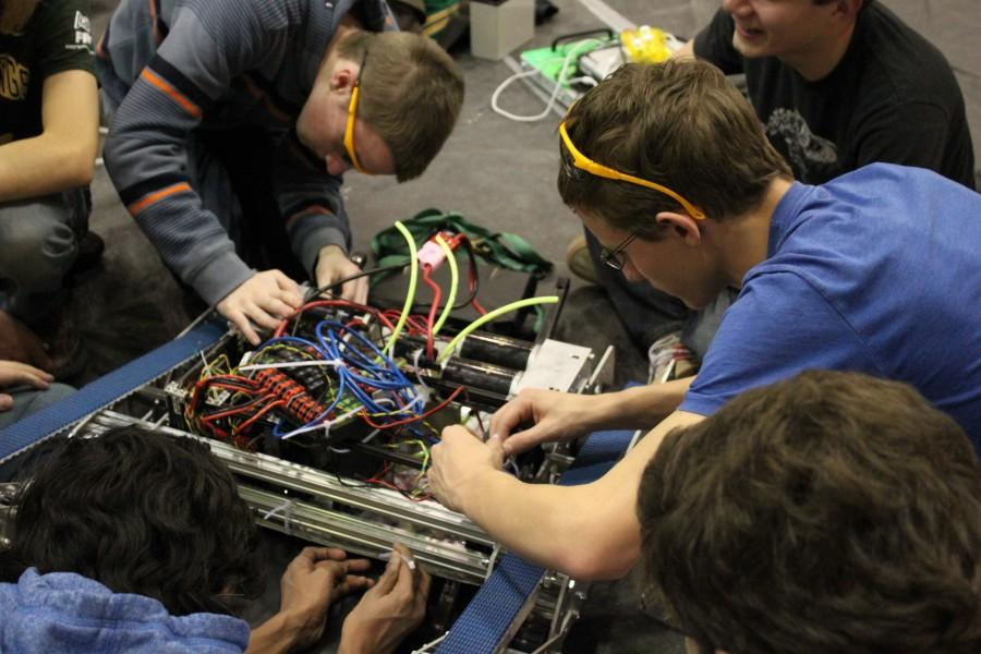 The team continues to work on the robot. At the end of February the robot is packed up, and they don't have it back until the competition in March.