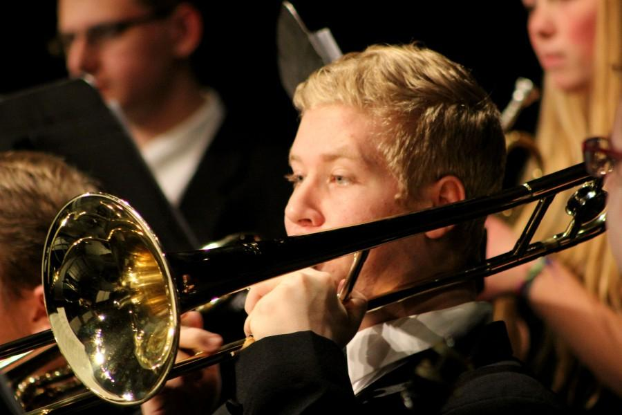 Luke Ganger (12) plays the trombone during the jazz band, Ganger is a four-year band member.