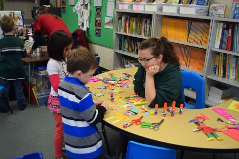 MSHS students volunteer to help  elementary school students at the Ute Pass Elementary School Craft Day in December 2015. This is only one of many volunteering opportunities student council participates in. Throughout the year, they also put on a volunteering day during homecoming week, sponsor a family for Christmas, participate in food drives and more.