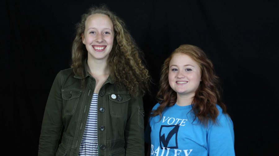 Bailey Eichers (11) and Lily Reavis (11) are both running for Student Body President. While Reavis has been in student council for two years, this is Eichers' first year in the council. Eichers is also a member of the JV soccer team. Reavis is a member of National Honor Society and the Gay Straight Trans* Alliance, as well as the Editor-in-Chief of the school newspaper.