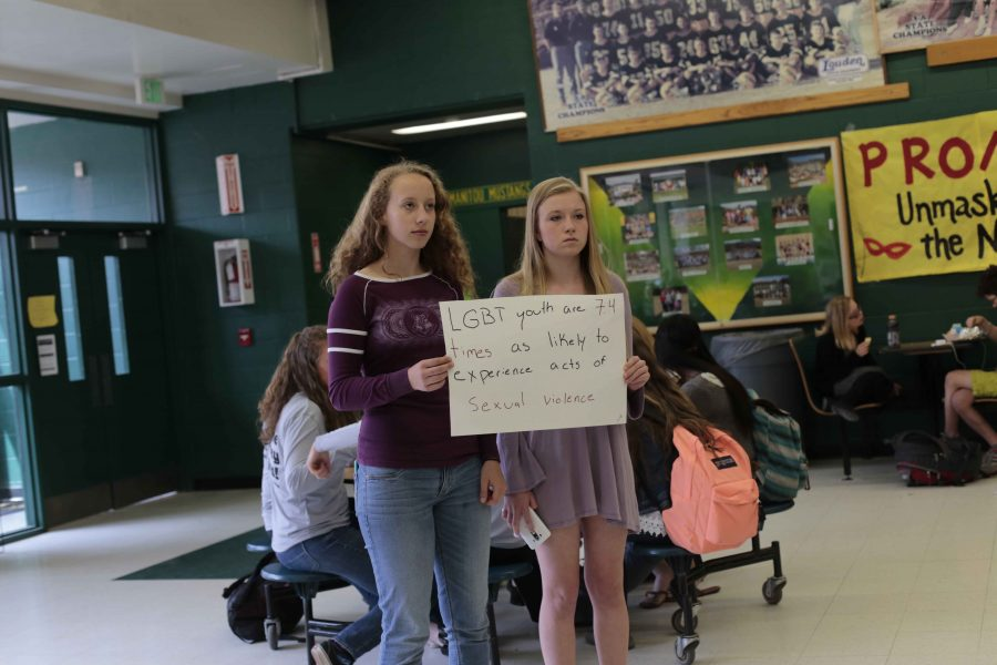 Lily Reavis (11) and Aubrey Hall (10) participated during the lunchtime protest to bring awareness to the struggles of LGBTQ+ community.