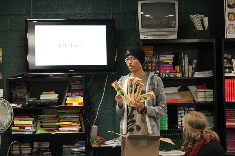Zhong Yu Huang (11), known as Jay in the high school, hosts the last meeting in Mr. Batson's room.