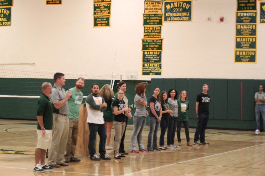 The new MSHS staff members play a game organized by the student council during the Welcome Back Pep Assembly.