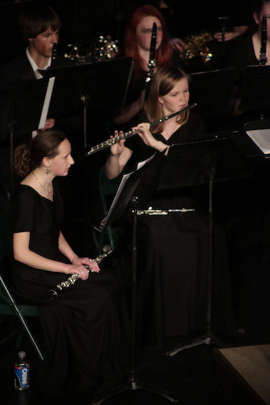 The first chair flute Alena Akse(11) in the MSHS symphonic band was playing a solo