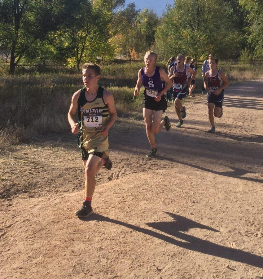 Way to go! Quinn Hersey (10) keeps his pace ahead of a few Salida and TCA runners behind him. Manitou mostly secured positions in the middle of rankings for all races.