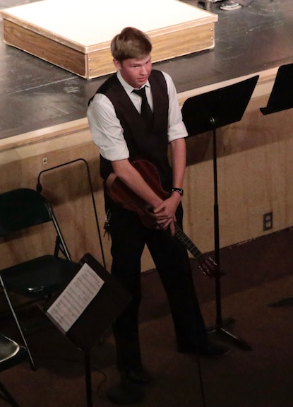Bryce VanDerveer (12) was the first student to play an original composition at a Manitou band concert. His piece was called,