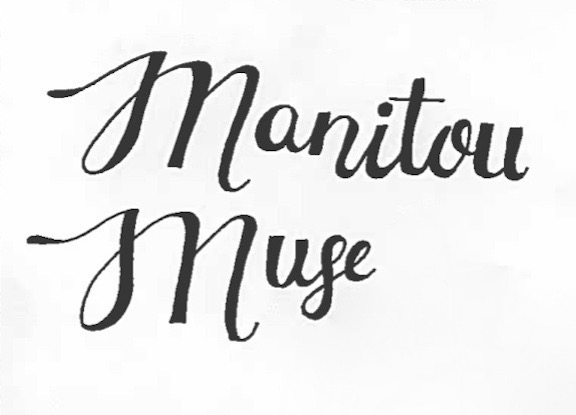 The Manitou Muse's title was drawn in a calligraphic style to express the creativity of the literary magazine by Zoe Schnurman (10).