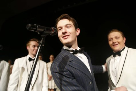 Thomas Hudson (12) welcoming the group on stage for there first number and setting the stage for the rest of the show.