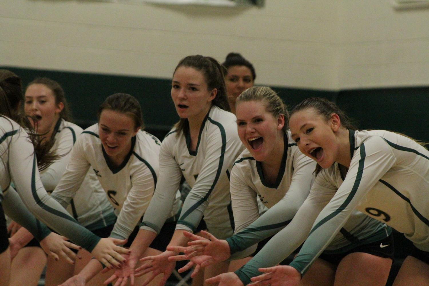 Teagan Nevada (10), Abbie Boren (11), McKayla Cully (11) and Sarah Kost (10)  are all part of the varsity team.